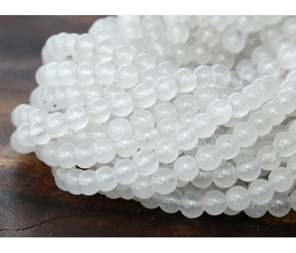 White Semi-Transparent Jade Beads, 4mm Round