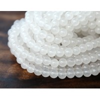 White Semi-Transparent Jade Beads, 6mm Round