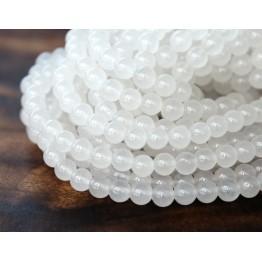 White Semi-Transparent Jade Beads, 6mm Round