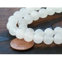 White Semi-Transparent Jade Beads, 8mm Round