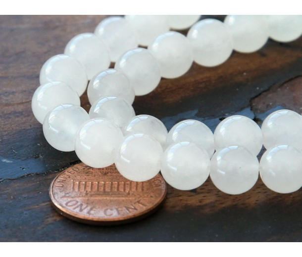 White Semi-Transparent Jade Beads, 8mm Round