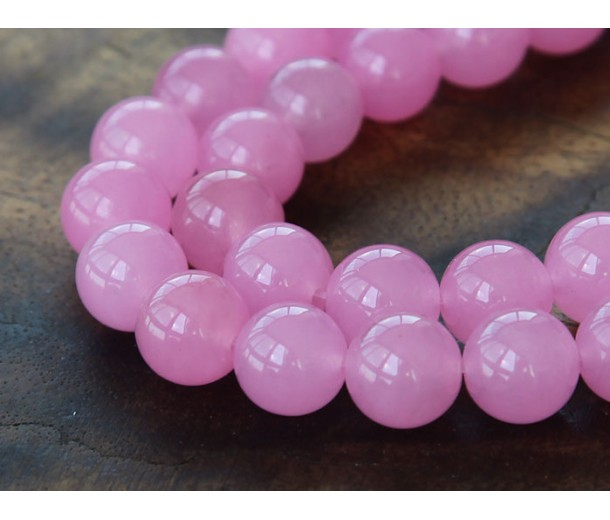 Rose Pink Semi-Transparent Jade Beads, 10mm Round