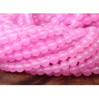 Rose Pink Semi-Transparent Jade Beads, 4mm Round