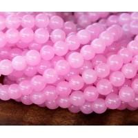 Rose Pink Semi-Transparent Jade Beads, 6mm Round