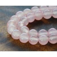 Petal Pink Semi-Transparent Jade Beads, 8mm Round