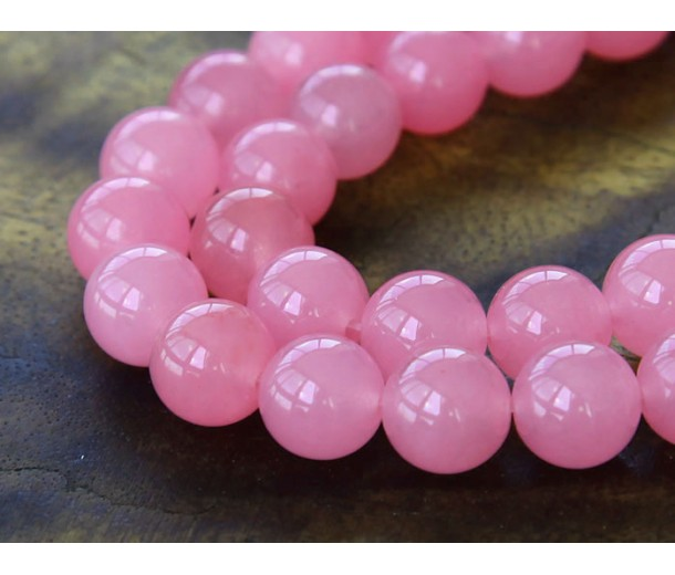 Neon Pink Semi-Transparent Jade Beads, 10mm Round