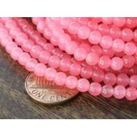 Neon Pink Semi-Transparent Jade Beads, 4mm Round