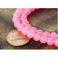 Neon Pink Semi-Transparent Jade Beads, 6mm Round