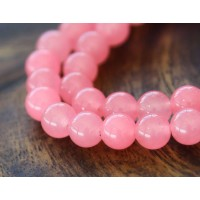 Neon Pink Semi-Transparent Jade Beads, 8mm Round