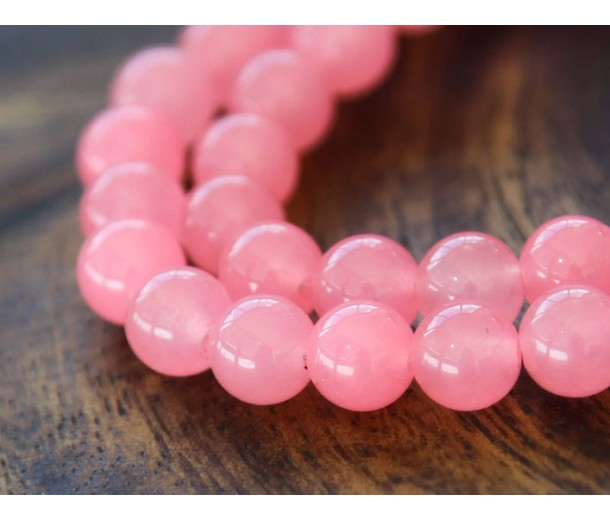 Neon Pink Semi-Transparent Jade Beads, 8mm Round