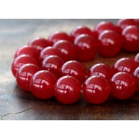 Dark Red Semi-Transparent Jade Beads, 10mm Round