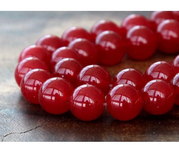 Dark Red Semi-Transparent Jade Beads, 10mm Round