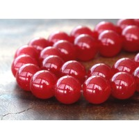 Medium Red Semi-Transparent Jade Beads, 12mm Round