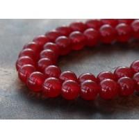 Dark Red Semi-Transparent Jade Beads, 6mm Round