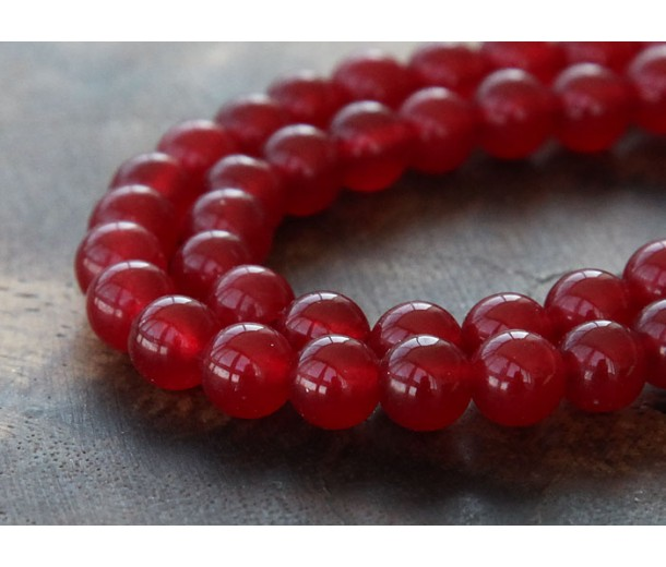Dark Red Semi-Transparent Jade Beads, 6mm Round