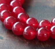 Dark Red Semi-Transparent Jade Beads, 8mm Round