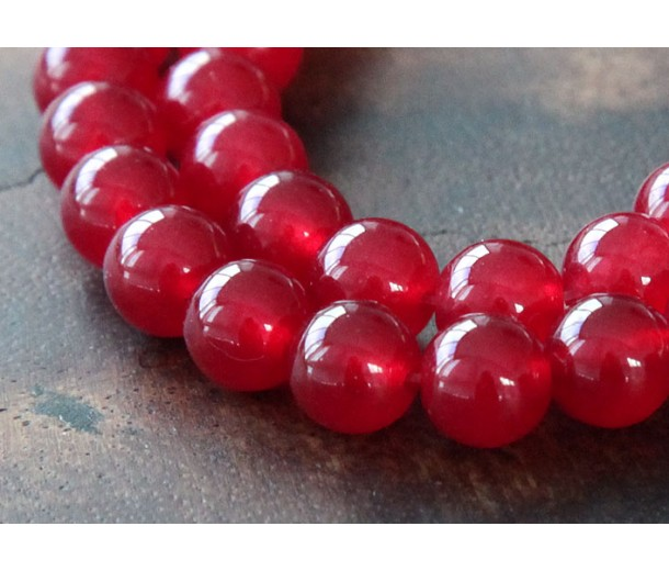 Dark Red Semi-Transparent Jade Beads, 8mm Round