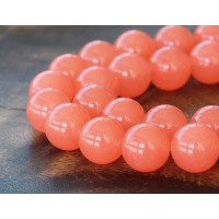 Coral Semi-Transparent Jade Beads, 12mm Round
