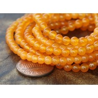 Tangerine Semi-Transparent Jade Beads, 4mm Round