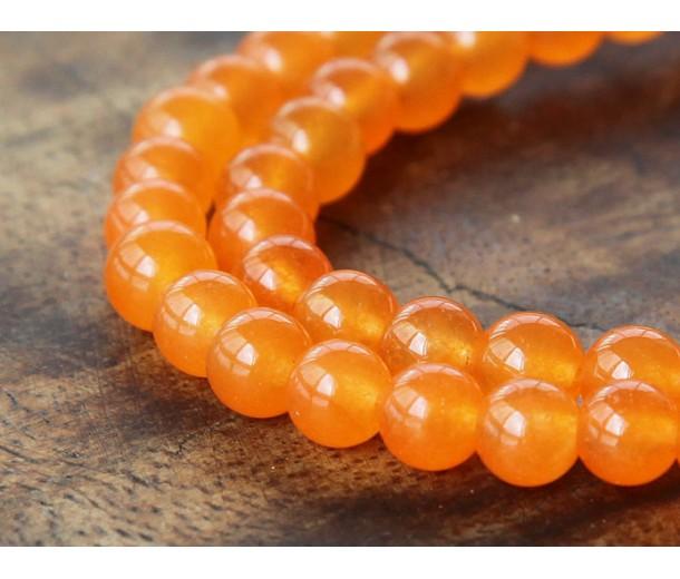 Tangerine Semi-Transparent Jade Beads, 6mm Round