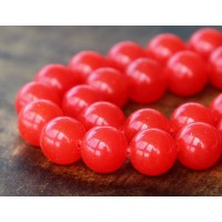 Flame Red Semi-Transparent Jade Beads, 10mm Round
