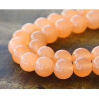 Light Orange Semi-Transparent Jade Beads, 10mm Round