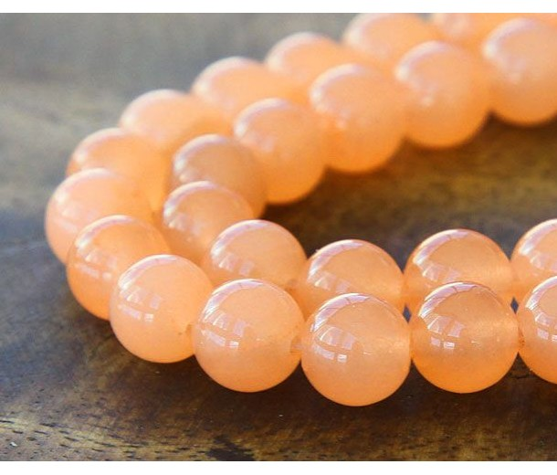 Light Orange Semi-Transparent Jade Beads, 10mm Round