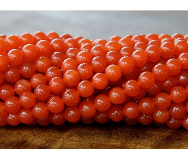 Dark Orange Semi-Transparent Jade Beads, 6mm Round