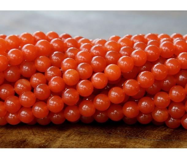 Dark Orange Semi-Transparent Jade Beads, 6mm Round