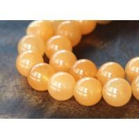 Melon Orange Semi-Transparent Jade Beads, 10mm Round