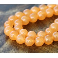 Melon Orange Semi-Transparent Jade Beads, 8mm Round