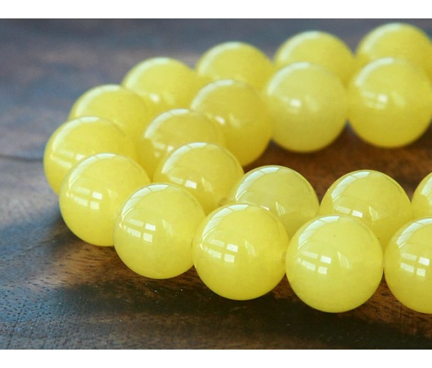 Sun Yellow Semi-Transparent Jade Beads, 12mm Round