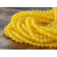 Sun Yellow Semi-Transparent Jade Beads, 4mm Round