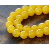 Sun Yellow Semi-Transparent Jade Beads, 10mm Round