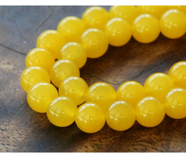 Sun Yellow Semi-Transparent Jade Beads, 10mm Round