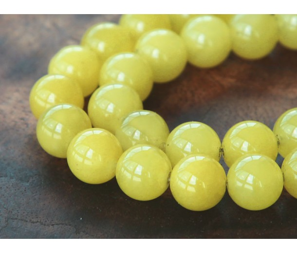 Lemon Yellow Semi-Transparent Jade Beads, 10mm Round