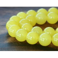 Lemon Yellow Semi-Transparent Jade Beads, 12mm Round
