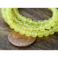Lemon Yellow Semi-Transparent Jade Beads, 4mm Round