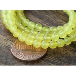 Lemon Yellow Semi-Transparent Jade Beads, 4mm Round