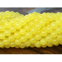 Lemon Yellow Semi-Transparent Jade Beads, 6mm Round