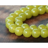 Mustard Semi-Transparent Jade Beads, 10mm Round