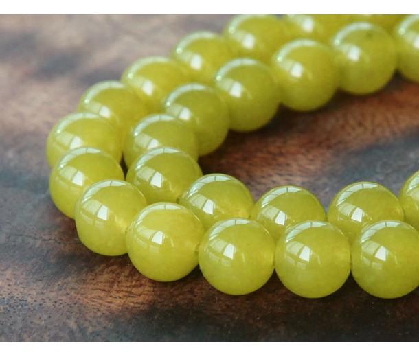 Mustard Semi-Transparent Jade Beads, 10mm Round