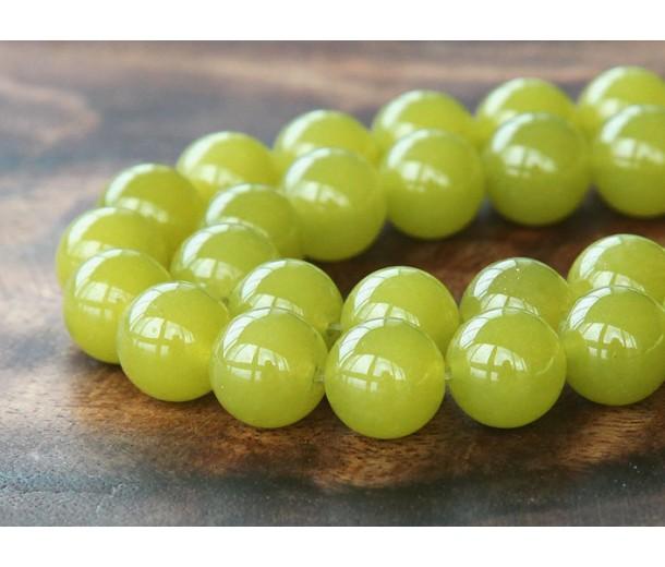 Mustard Semi-Transparent Jade Beads, 12mm Round
