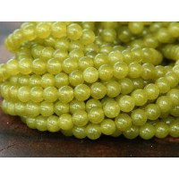 Mustard Semi-Transparent Jade Beads, 4mm Round