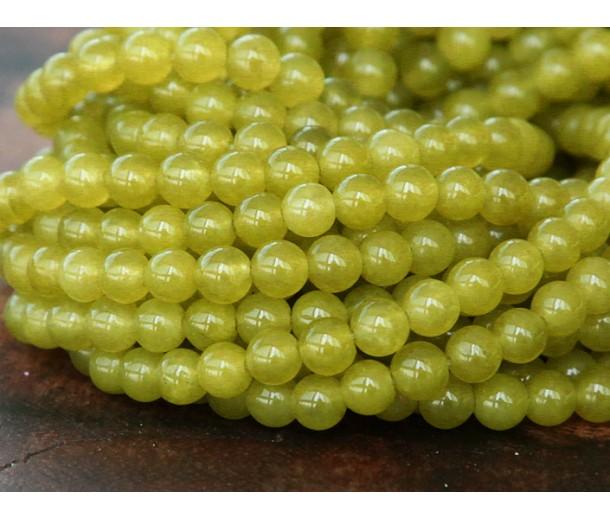 Mustard Semi-Transparent Jade Beads, 4mm Round