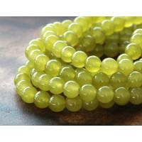 Mustard Semi-Transparent Jade Beads, 6mm Round