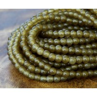 Dark Olive Green Semi-Transparent Jade Beads, 4mm Round