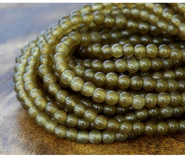 Dark Olive Green Semi-Transparent Jade Beads, 4mm Round