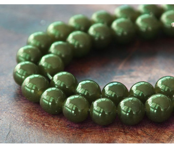 Dark Olive Green Semi-Transparent Jade Beads, 6mm Round