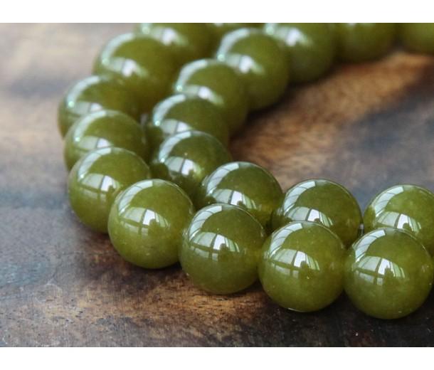 Dark Olive Green Semi-Transparent Jade Beads, 8mm Round